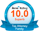 Avvo Rating bage for Top Attorney Family, rated 10.0 Superb